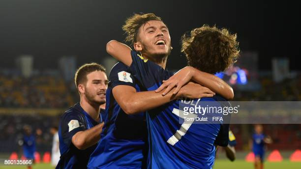 Amine Gouiri of France celebrates scoring a goal during the FIFA U17 World Cup India 2017 group E match between France and Japan at Indira Gandhi...