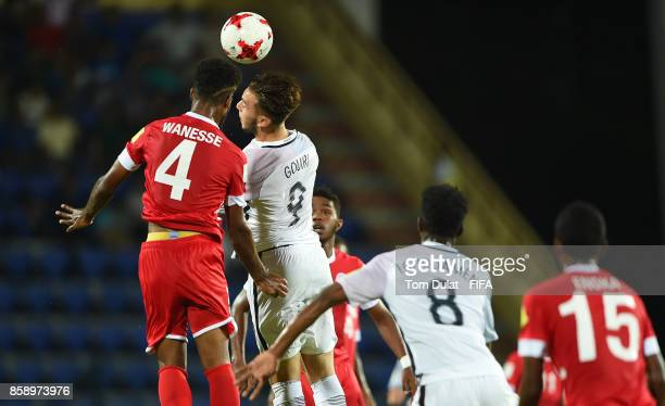 Amine Gouiri of France jumps to the ball during the FIFA U17 World Cup India 2017 group E match between New Caledonia and France at Indira Gandhi...