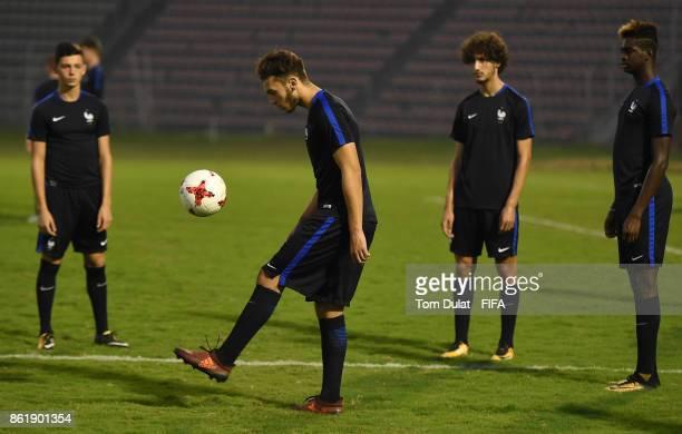 Amine Gouiri of France kicks the ball during a training session ahead of the FIFA U17 World Cup India 2017 tournament on October 16 2017 in Guwahati...