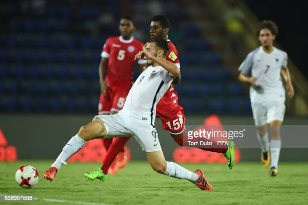 Amine Gouiri of France scores a goal during the FIFA U17 World Cup India 2017 group E match between New Caledonia and France at Indira Gandhi...
