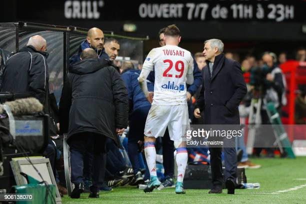 Amine Gouiri of Lyon and Bruno Genesio Headcoach of Lyon during the Ligue 1 match between EA Guingamp and Olympique Lyonnais at Stade du Roudourou on...