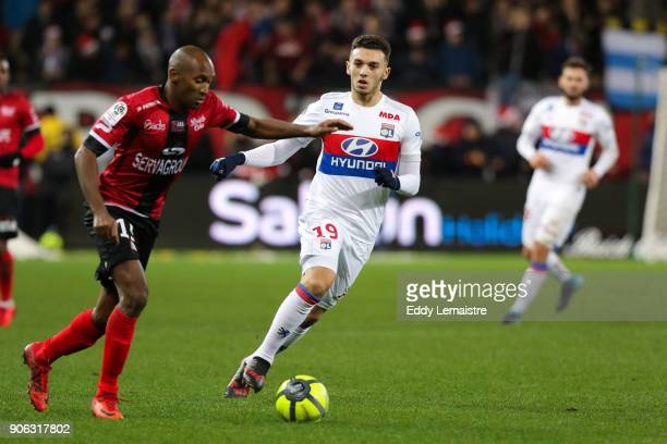 Amine Gouiri of Lyon and Jeremy Sorbon of Guingamp during the Ligue 1 match between EA Guingamp and Olympique Lyonnais at Stade du Roudourou on...