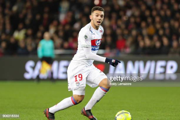 Amine Gouiri of Lyon during the Ligue 1 match between EA Guingamp and Olympique Lyonnais at Stade du Roudourou on January 17 2018 in Guingamp