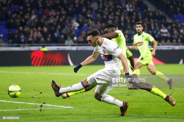 Amine Gouiri of Lyon during the Ligue 1 match between Lyon and Angers at Groupama Stadium on January 14 2018 in Lyon France