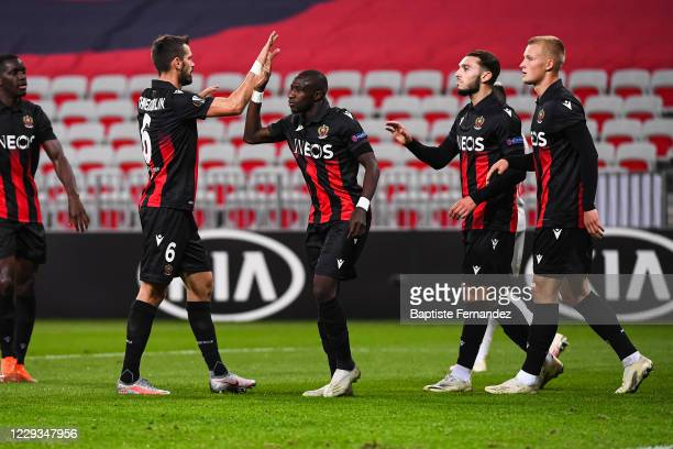 Amine GOUIRI of Nice celebrates his goal with team mates during the UEFA Europa League soccer match between Nice and Hapoel Beer Sheva at Allianz...