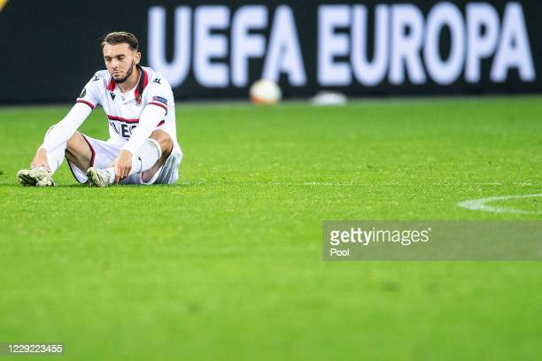Amine Gouiri of OGC Nice reacts after the UEFA Europa League Group C stage match between Bayer 04 Leverkusen and OGC Nice at BayArena on October 22,...