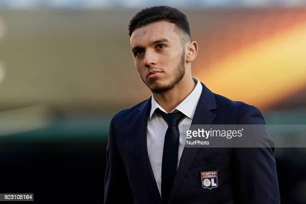 Amine Gouiri of Olympique Lyonnais looks on prior to the UEFA Europa League round of 32 second leg match between Villarreal CF and Olympique Lyonnais...