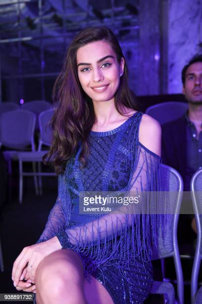 Amine Gulse attends the Rasit Bagzibagli show during MercedesBenz Fashion Week Istanbul at Shangri La Hotel Istanbul on March 27 2018 in Istanbul...