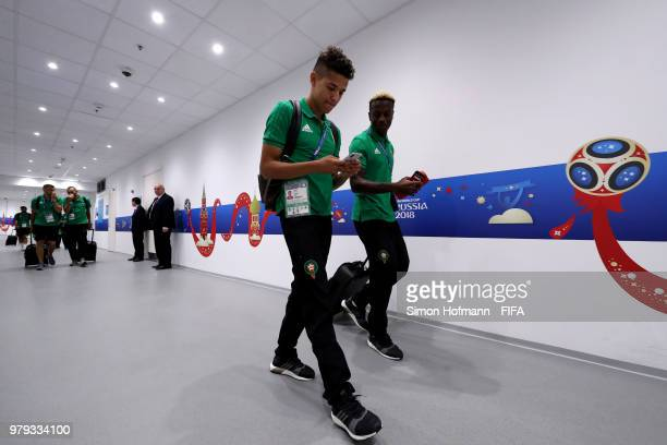 Amine Harit and Hamza Mendyl of Morocco prior to the 2018 FIFA World Cup Russia group B match between Portugal and Morocco at Luzhniki Stadium on...