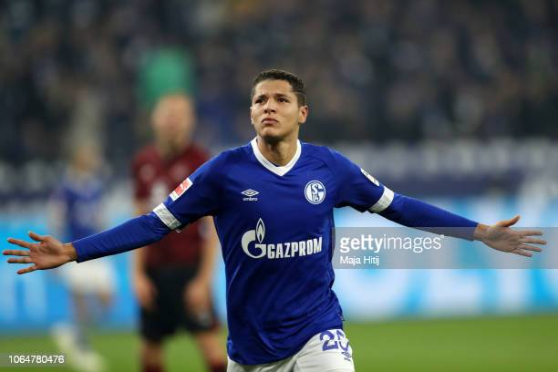Amine Harit celebrates after scoring his team's second goal during the Bundesliga match between FC Schalke 04 and 1 FC Nuernberg at VeltinsArena on...