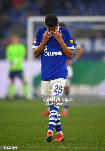 Amine Harit of FC Schalke 0 looks dejected after the Bundesliga match between FC Schalke 04 and Fortuna Duesseldorf at VeltinsArena on March 02 2019...