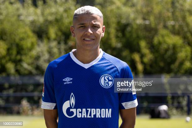 Amine Harit of FC Schalke 04 poses during the team presentation at Veltins Arena on July 16 2018 in Gelsenkirchen Germany
