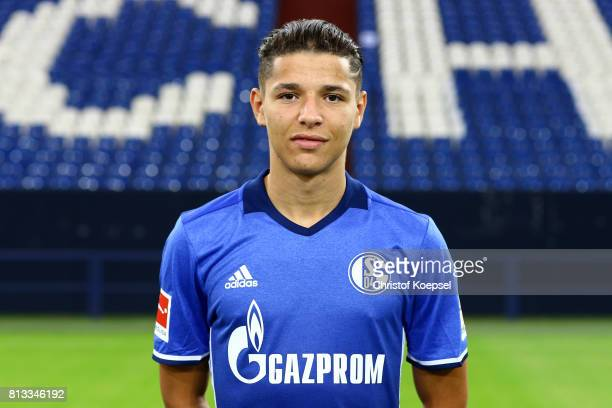 Amine Harit of FC Schalke 04 poses during the team presentation at Veltins Arena on July 12 2017 in Gelsenkirchen Germany