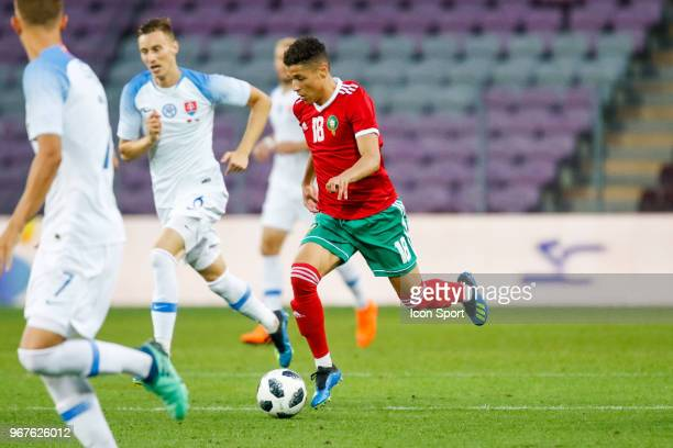 Amine Harit of Morocco during the International Friendly match between Morocco and Slovakia at Geneva on June 4 2018 in Geneva Switzerland