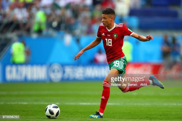Amine Harit of Morocco in action during the 2018 FIFA World Cup Russia group B match between Morocco and Iran at Saint Petersburg Stadium on June 15...