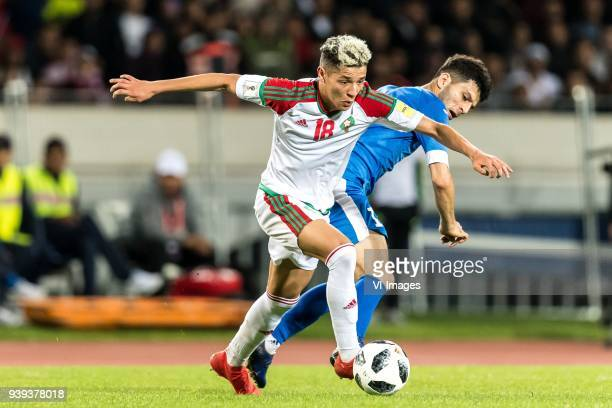 Amine Harit of Morocco Jaloliddin Masharipov of Uzbekistan during the international friendly match between Morocco and Uzbekistan at the Stade...