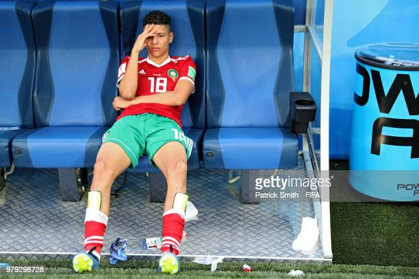 Amine Harit of Morocco looks dejected following his sides defeat in the 2018 FIFA World Cup Russia group B match between Morocco and Iran at Saint...