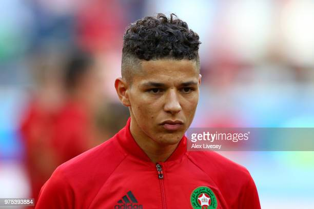 Amine Harit of Morocco looks on during the 2018 FIFA World Cup Russia group B match between Morocco and Iran at Saint Petersburg Stadium on June 15...