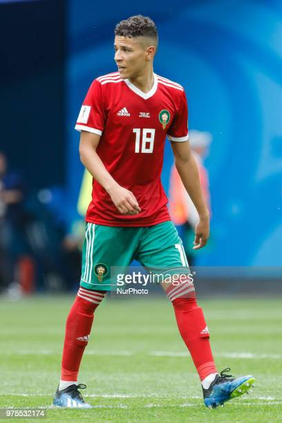 Amine Harit of Morocco national team during the 2018 FIFA World Cup Russia Group B match between Morocco and IR Iran on June 15 2018 at Saint...