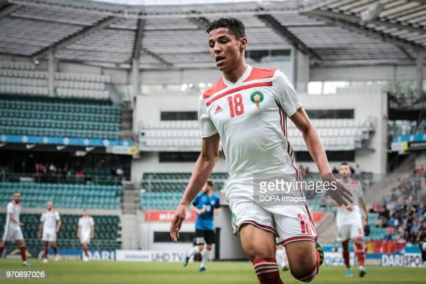 Amine Harit of Morocco on attack Friendly between Estonia and Morocco at A le Coq Arena in Tallinn Estonia