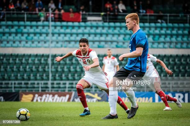 Amine Harit of Morocco on the attack Friendly between Estonia and Morocco at A le Coq Arena in Tallinn Estonia