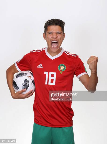 Amine Harit of Morocco poses during the official FIFA World Cup 2018 portrait session on June 10 2018 in Voronezh Russia
