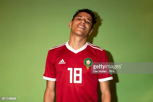Amine Harit of Morocco poses for a portrait during the official FIFA World Cup 2018 portrait session at on June 10 2018 in Voronezh Russia