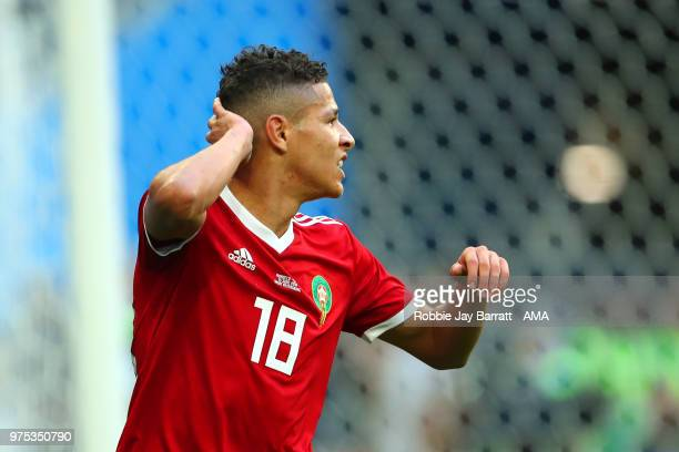 Amine Harit of Morocco reacts during the 2018 FIFA World Cup Russia group B match between Morocco and Iran at Saint Petersburg Stadium on June 15...
