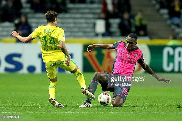 Amine Harit of Nantes and Issa Diop of Toulouse during the Ligue 1 match between Fc Nantes and Toulouse Fc at Stade de la Beaujoire on November 5...