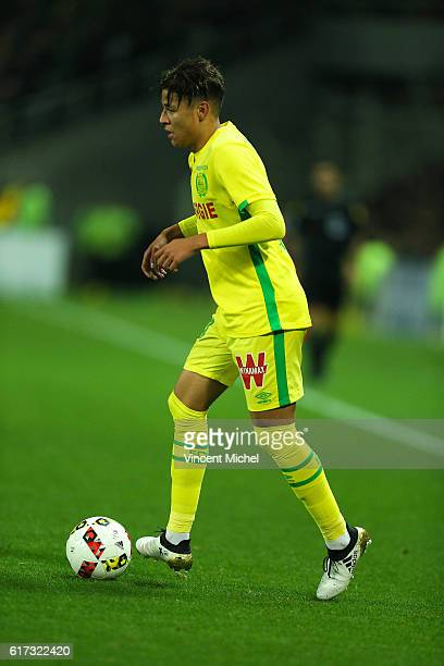 Amine Harit of Nantes during the Ligue 1 match between FC Nantes and Stade Rennais at Stade de la Beaujoire on October 22 2016 in Nantes France