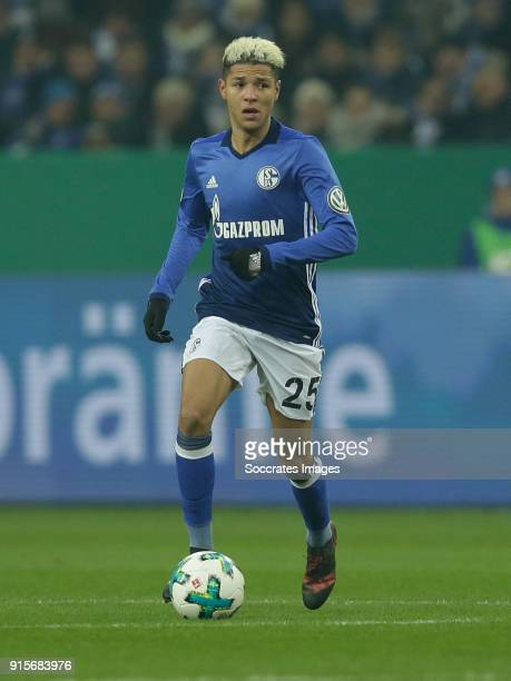 Amine Harit of Schalke 04 during the German DFB Pokal match between Schalke 04 v VFL Wolfsburg at the Veltins Arena on February 7 2018 in...