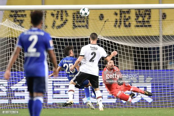 Amine Harit of Schalke 04 in action against Matej Mitrovic of Besiktas during the International Champions Cup match between Schalke 04 and Besiktas...