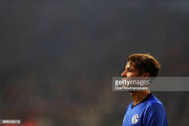 Amine Harit of Schalke 04 looks on during the DFB Pokal match between FC Schalke 04 and 1 FC Koeln at VeltinsArena on December 19 2017 in...