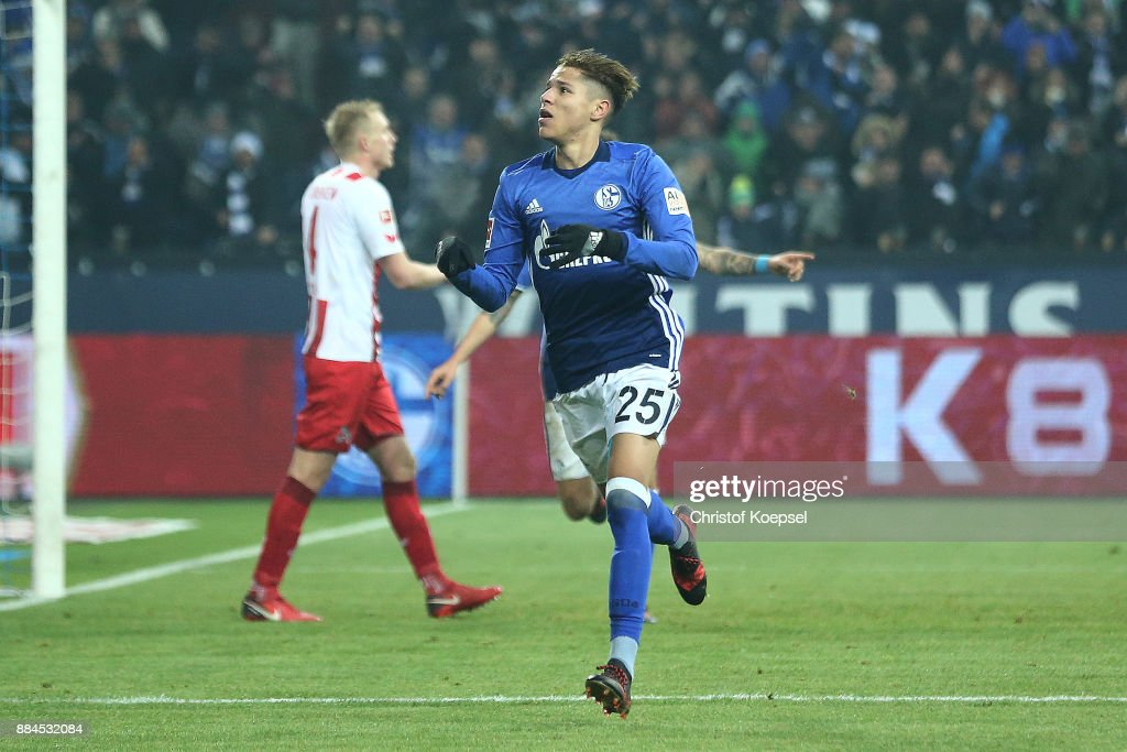 Amine Harit of Schalke (r) celebrates after he scored a goal to make it 2:1 during the Bundesliga match between FC Schalke 04 and 1. FC Koeln at Veltins-Arena on December 2, 2017 in Gelsenkirchen, Germany.