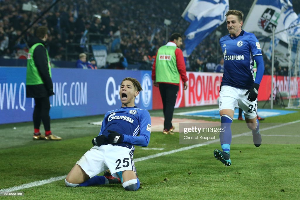 Amine Harit of Schalke (l) celebrates after he scored a goal to make it 2:1 during the Bundesliga match between FC Schalke 04 and 1. FC Koeln at Veltins-Arena on December 2, 2017 in Gelsenkirchen, Germany.