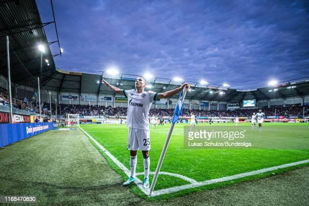 Amine Harit of Schalke celebrates his team's fifth goal during the Bundesliga match between SC Paderborn 07 and FC Schalke 04 at Benteler Arena on...