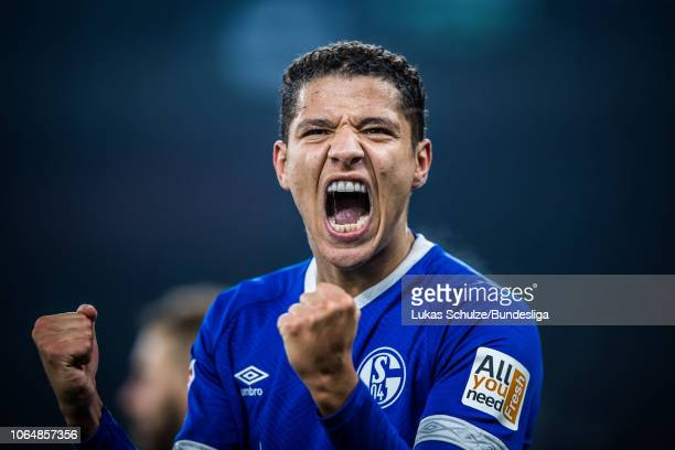 Amine Harit of Schalke celebrates his teams fourth goal during the Bundesliga match between FC Schalke 04 and 1 FC Nuernberg at VeltinsArena on...