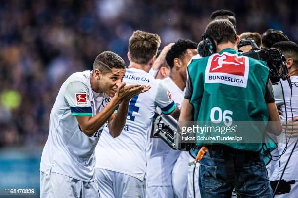 Amine Harit of Schalke celebrates his team's third goal during the Bundesliga match between SC Paderborn 07 and FC Schalke 04 at Benteler Arena on...