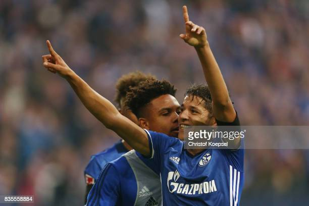 Amine Harit of Schalke celebrates Schalke's second goal during the Bundesliga match between FC Schalke 04 and RB Leipzig at VeltinsArena on August 19...