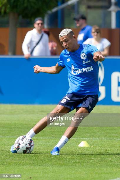 Amine Harit of Schalke controls the ball during a training session at the FC Schalke 04 Training center on July 18 2018 in Gelsenkirchen Germany