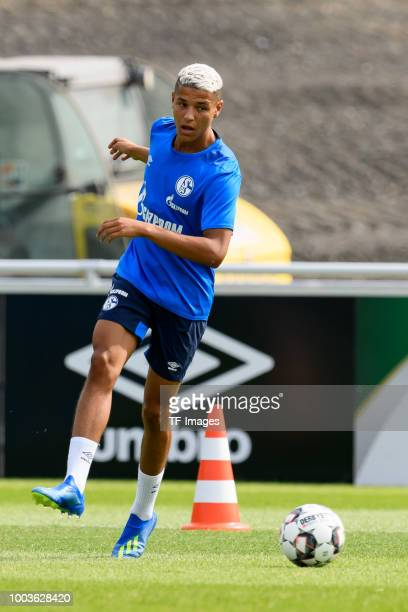 Amine Harit of Schalke controls the ball during a training session at the FC Schalke 04 Training center on July 19 2018 in Gelsenkirchen Germany