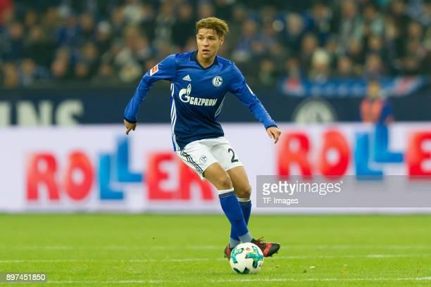 Amine Harit of Schalke controls the ball during the Bundesliga match between FC Schalke 04 and FC Augsburg at VeltinsArena on December 13 2017 in...