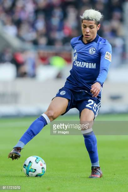 Amine Harit of Schalke controls the ball during the Bundesliga match between VfB Stuttgart and FC Schalke 04 at MercedesBenz Arena on January 27 2018...