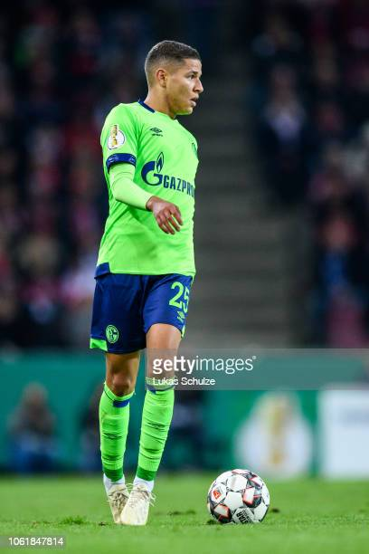 Amine Harit of Schalke controls the ball during the DFB Cup match between 1 FC Koeln and FC Schalke 04 at RheinEnergieStadion on October 31 2018 in...