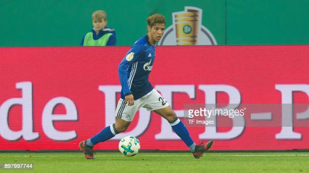 Amine Harit of Schalke controls the ball during the DFB Cup match between FC Schalke 04 and 1 FC Koeln at VeltinsArena on December 19 2017 in...
