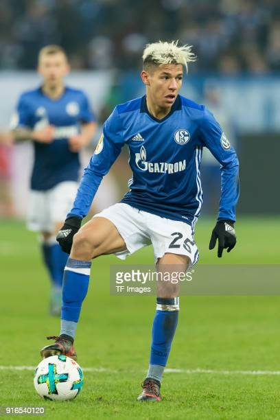 Amine Harit of Schalke controls the ball during the DFB Cup match between FC Schalke 04 and VfL Wolfsburg at VeltinsArena on February 7 2018 in...