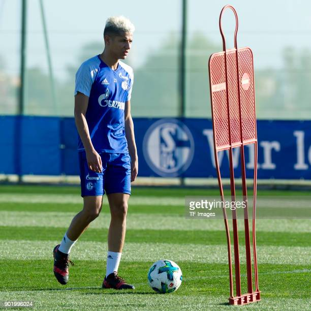 Amine Harit of Schalke controls the ball during the FC Schalke 04 training camp at Hotel Melia Villaitana on January 05 2018 in Benidorm Spain