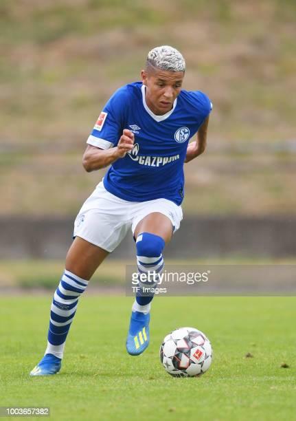 Amine Harit of Schalke controls the ball during the Friendly match between Schwarz Weiss Essen and FC Schalke 04 on July 21 2018 in Essen Germany