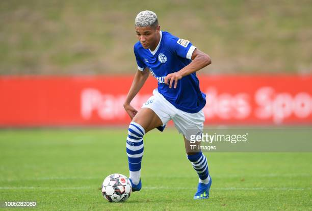 Amine Harit of Schalke controls the ball during the Friendly match between Schwarz Weiss Essen and FC Schalke 04 on July 21 2018 in Essen Germany