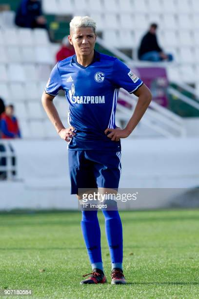 Amine Harit of Schalke controls the ball during the Friendly match between FC Schalke 04 and KRC Genk at Estadio Municipal Guillermo Amor on January...